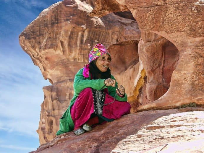 Bedouin Woman in the ancient city of Petra, Jordan