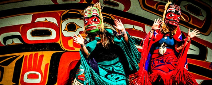 Traditional dancers perform at a Tlingit Potlatch