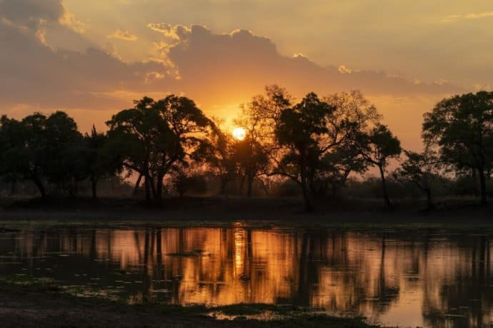 Sunset at South Luangwa National Park in Zambia