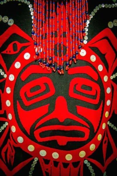 Closeup of traditional Tlingit Blanket at Sealaska Heritage Museum in Juneau
