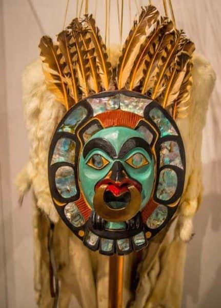 Closeup of Tlingit Bear Mask at Sealaska Heritage Museum in Juneau