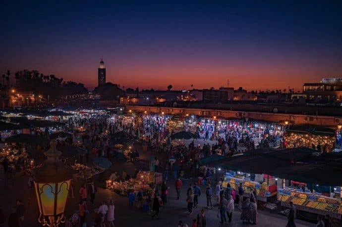 Sunset on a Market in Marrakesh, Morocco