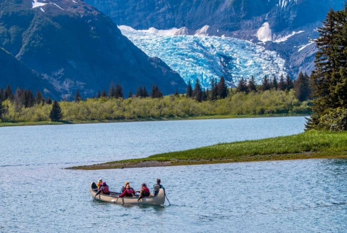 Canoeing to Pederson Glacier at Kenai Fjords Glacier Lodge