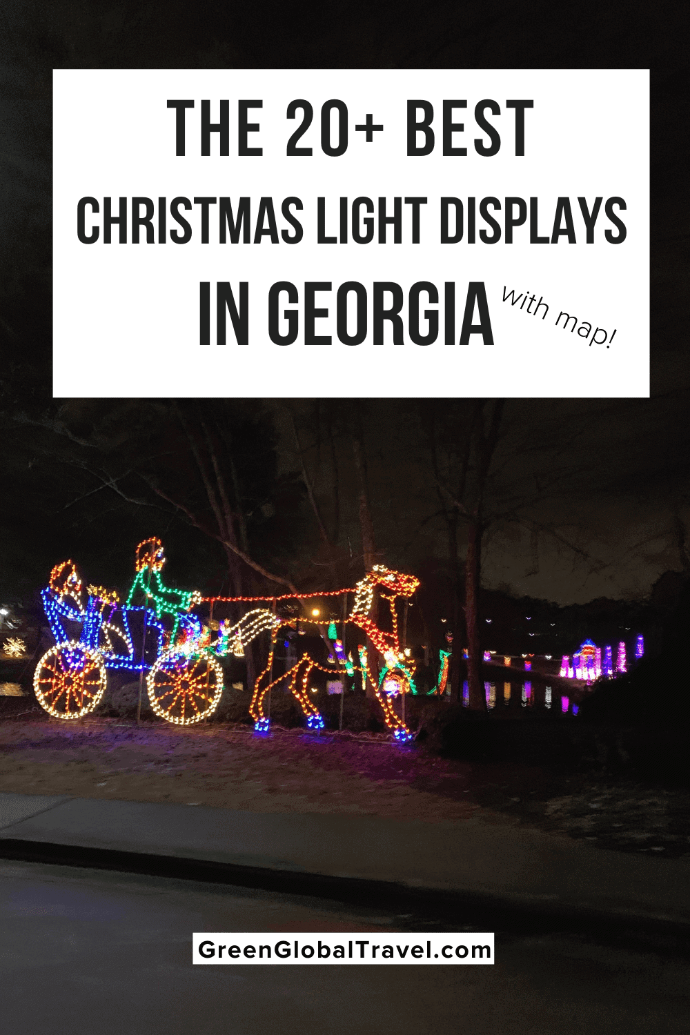 20 Best Christmas Light Displays in Georgia for 2020 w/ Map! including the Botanical Gardens, Lake Lanier, Callaway Gardens, Stone Mountain, Blue Ridge & more. | southern lights | christmas light displays | southern christmas show | best christmas lights| lights of the south | best outdoor christmas lights | christmas lights in atlanta | christmas in the south | georgia christmas | georgia christmas lights | christmas lights in georgia | holiday light show | atlanta christmas