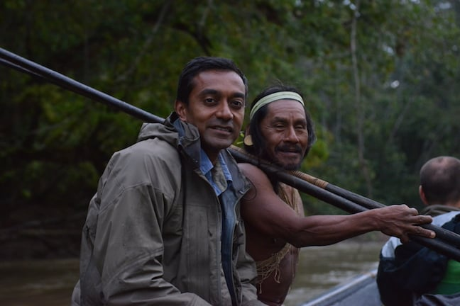 M Sanjayan With Waorani in Yasuni, Ecuador