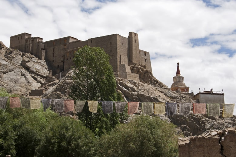 Leh monastery and flags