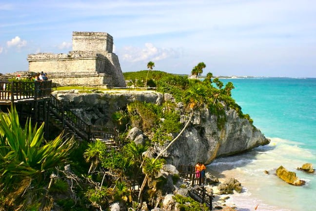 The Mayan Ruins of El Castillo in Tulum, Mexico