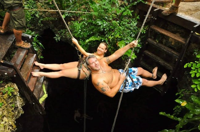 Rappelling Into a Cenote in Riviera Maya, Mexico