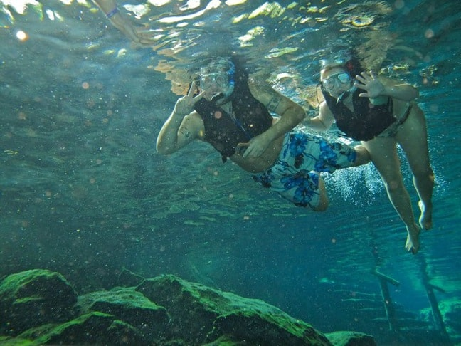 Snorkeling in Cenotes in Riviera Maya, Mexico