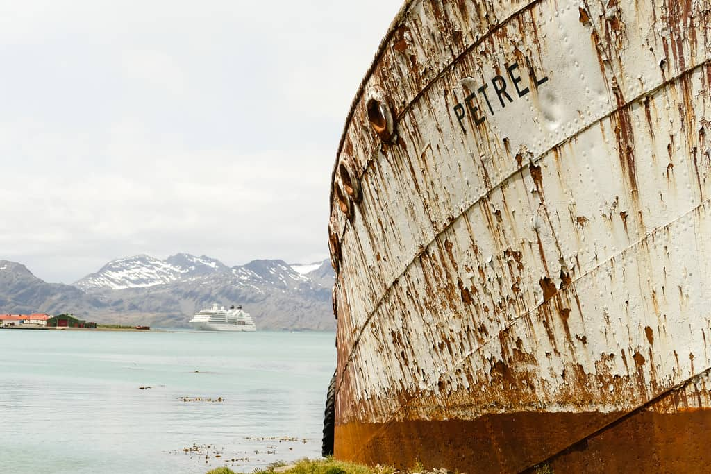 Abandoned whaling ship rests on shore at Grytviken on South Georgia Island
