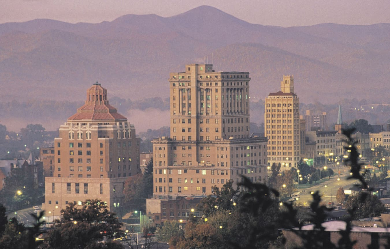 Art Deco Buildings in Downtown Asheville, North Carolina