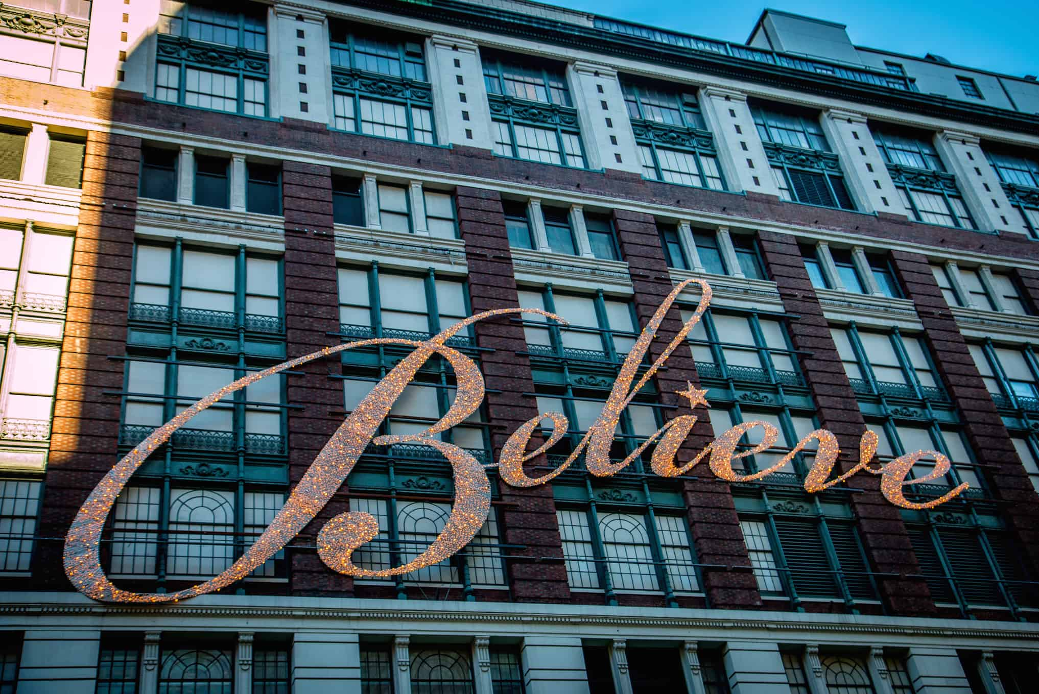 90th macy's thanksgiving day parade- Believe Sign