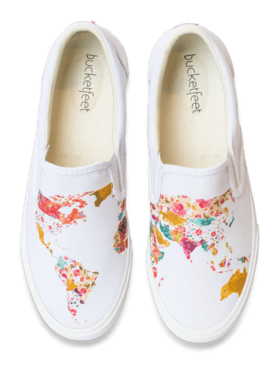 Best Gifts for Travelers - Bucketfeet WorldMap Slipon shoes
