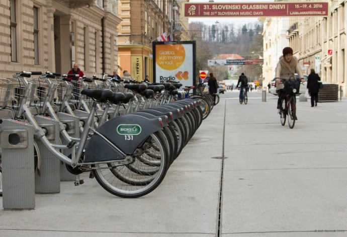 Ljubljana Slovenia - Bike lending stand