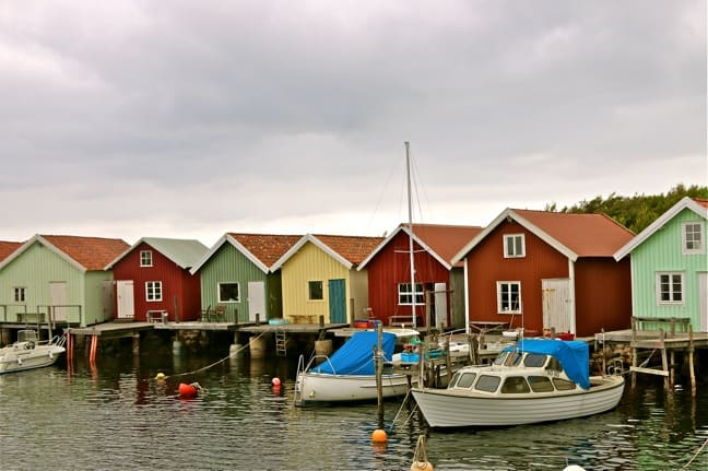 The Famous Multi-Colored Boathouses of South Koster Island, Sweden
