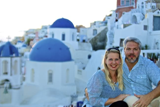 Bret Love & Mary Gabbett of Green Global Travel in Oia, Santorini