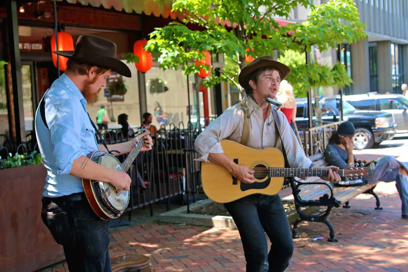 Busking Musicians in Downtown Asheville, North Carolina