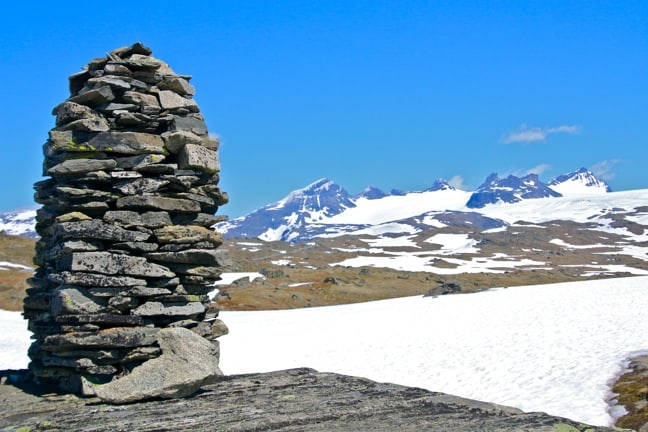 Ancient Stone Cairn, a trail marker in Norway's Jotunheimen Mountains