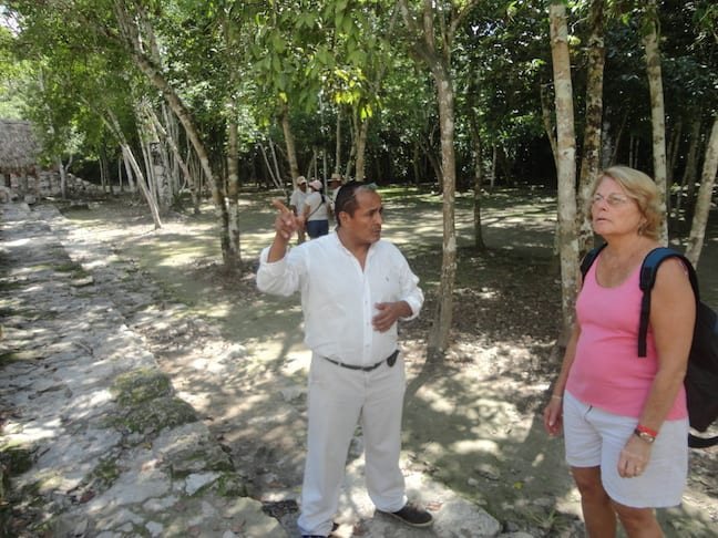 Dr Martha Honey visits Coba in Mexico's Yucatan Peninsula during the TBEX Travel Blogging Conference