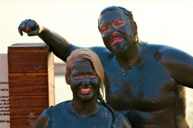 Covered in Dead Sea Jordan Mud