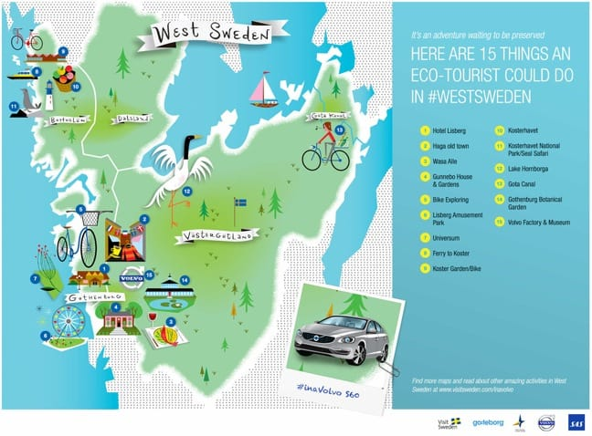 Our Next EcoAdventure West Sweden In A Volvo - Sweden map tourist