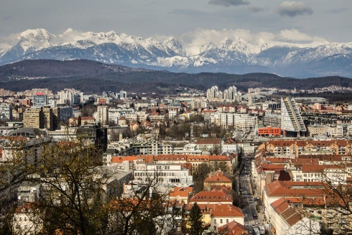 Ljubljana Slovenia - Facing north from Castle Hill towards Kamnik Alps