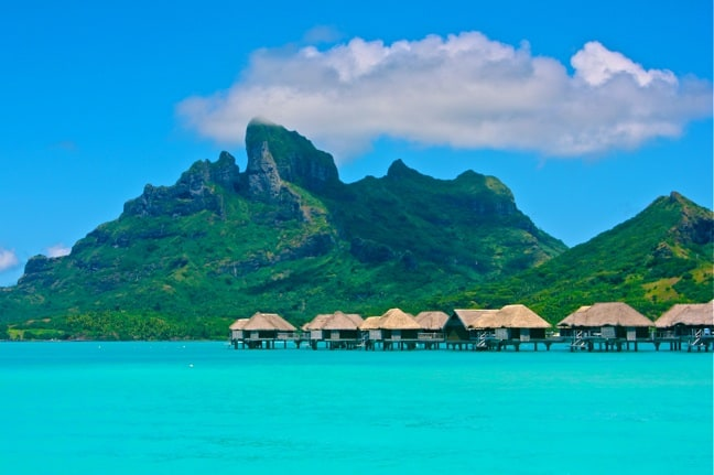 Exotic Island -Over-water bungalows at the Four Seasons Resort, Bora Bora.