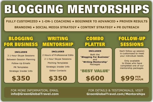 """Improve Your Writing"" and ""Blogging for Business"" Mentorship Packages via Green Global Travel"