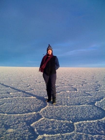 Gringo Trails Director Pegi Vail in Bolivia's Salar de Uyuni Salt Flats