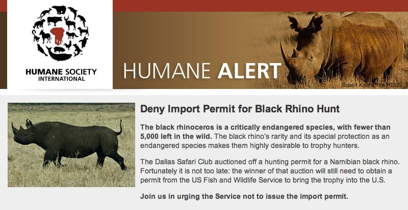 Humane Society International's Black Rhino Petition