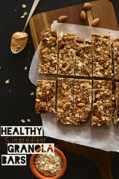 Palm Oil Free Foods -5-Ingredient (No Bake) Granola Bar by MinimalistBaker.com