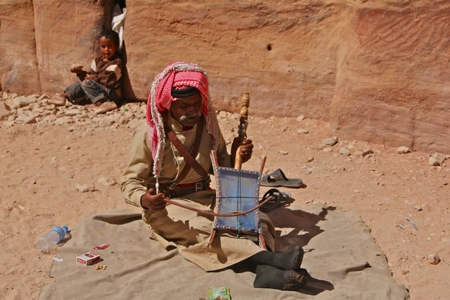 Berber Musician Plays a One-Stringed Lute in Petra, Jordan