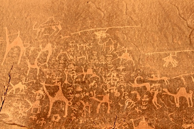 Ancient Petroglyphs in Wadi Rum, Jordan