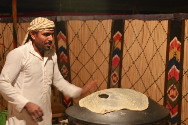 Making Bedouin Bread at Captain's Camp in Wadi Rum