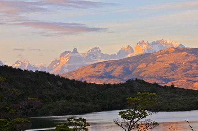 The View of Sunset On Torres del Paine From Patagonia Camp