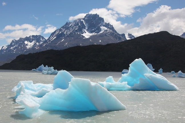 Icebergs Calved From Grey Glacier, Floating in Lago Grey, Torres Del Paine National Park, Chile