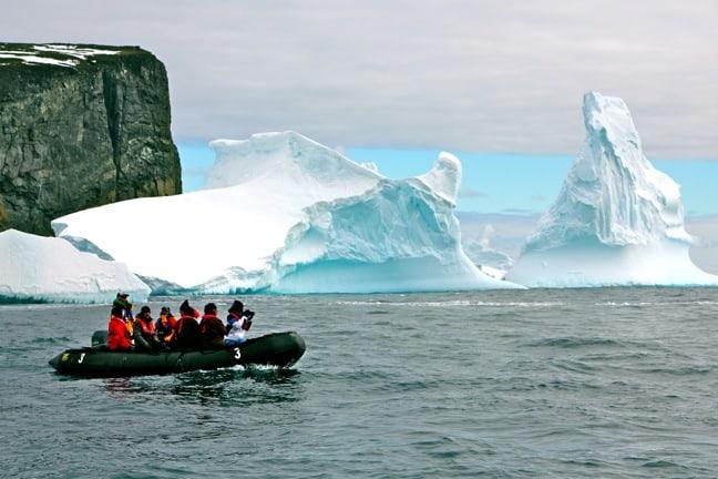 Exploring the Icebergs Around Spert Island, Antarctica