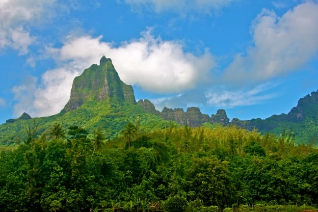 Mouʻa Roa, a.k.a. Bali Hai Mountain, on Moorea, Tahiti