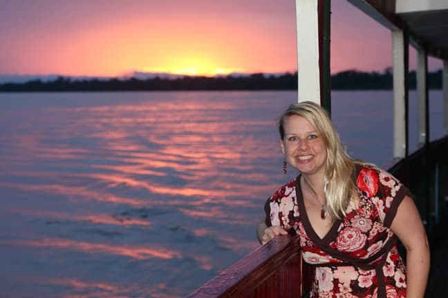 Mary Gabbett of Green Global Travel, Sunset in the Peruvian Amazon