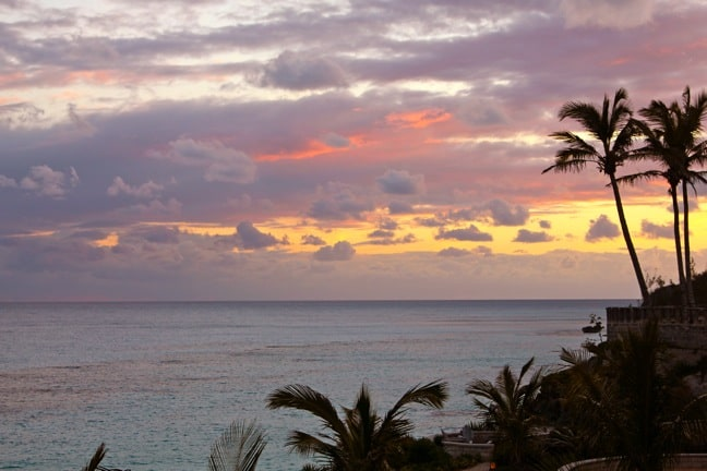 Exotic islands in the Caribbean-Sunset At The Reefs, Bermuda