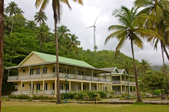 Wind Turbine at Dominica's Rosalie Bay Resort