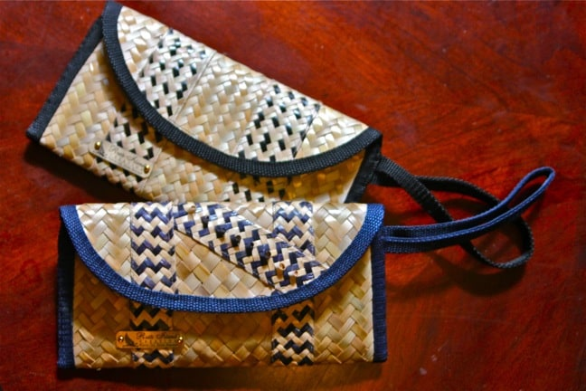 Hand-woven clutch purses by Ruth Island Creation, Staniel Cay