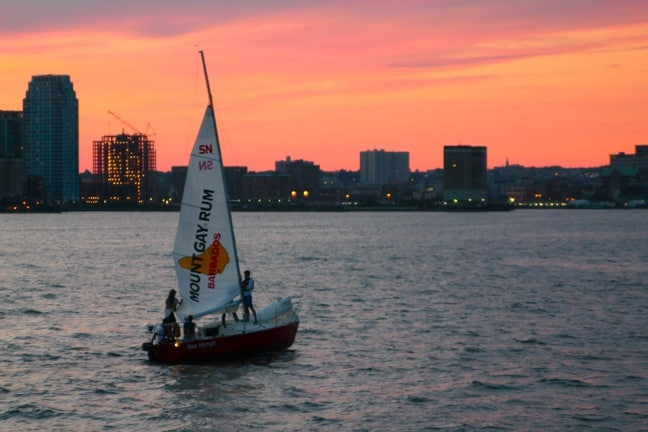Sailboat on the Hudson River, New York City