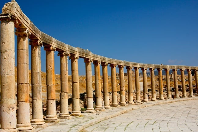 Columns of the Oval Forum in Jerash, Jordan