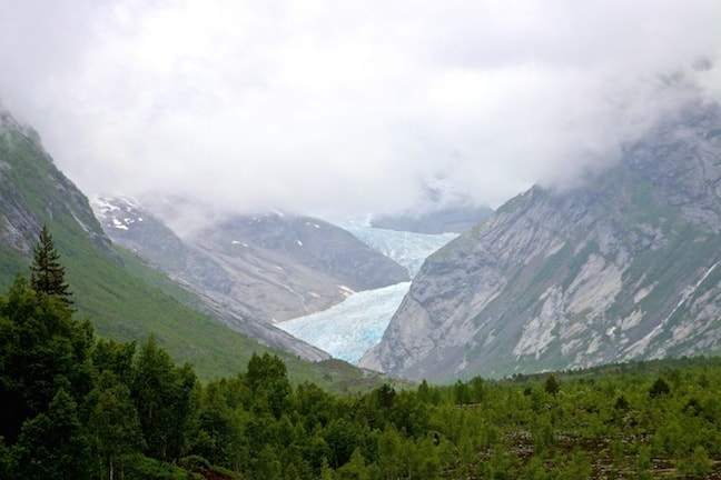 Nigardsbreen Viewed from Breheimsenteret Glacier Centre in Jostedal, Norway