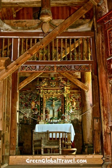 Interior of Urnes Stave Church, Norway