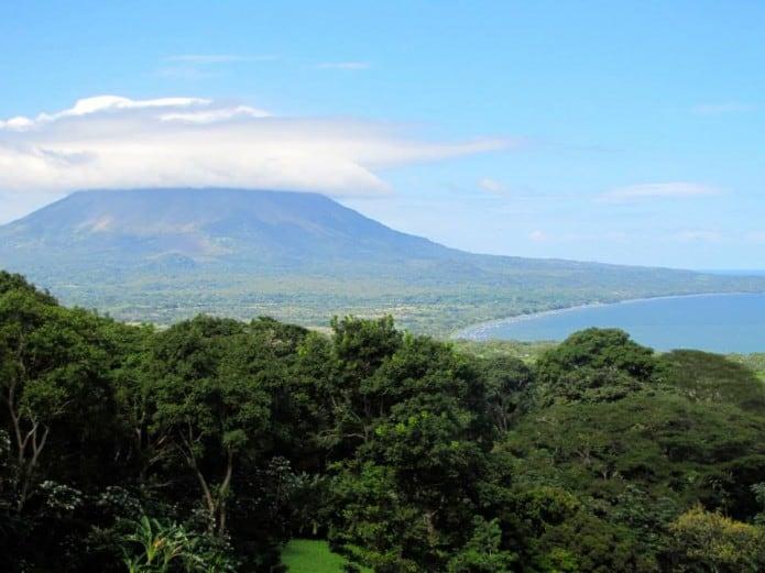 View of volcano on Isla de Ometepe Nicaragua