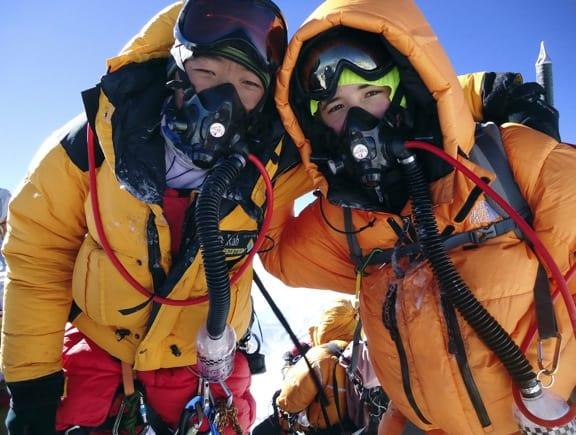 Jordan Romero at the Summit of Mount Everest