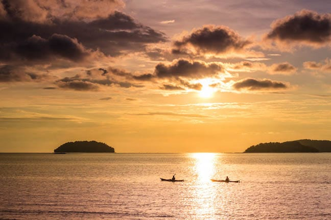Kayaking at Sunset in Sabah, Borneo