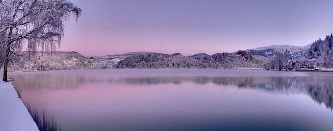 Winter Panorama of Lake Bled, Slovenia